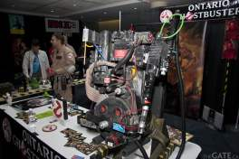 A proton pack at the Ghostbusters table