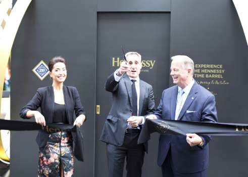 Hennessy Time Barrel ribbon cutting