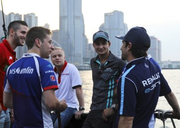 Formula E drivers in Hong Kong