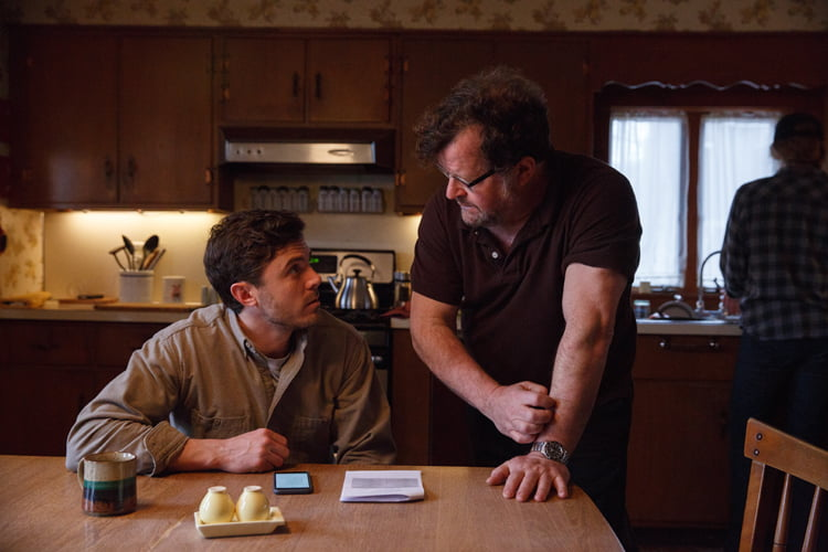 Casey Affleck and Kenneth Lonergan on set of Manchester by the Sea