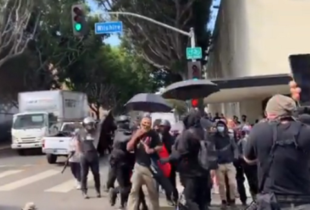 HAPPENING NOW: Antifa Attacking Protesters at Spa That Allowed Customer to Flash Penis at Little Girls Because of His 'Gender Identity' (VIDEO)