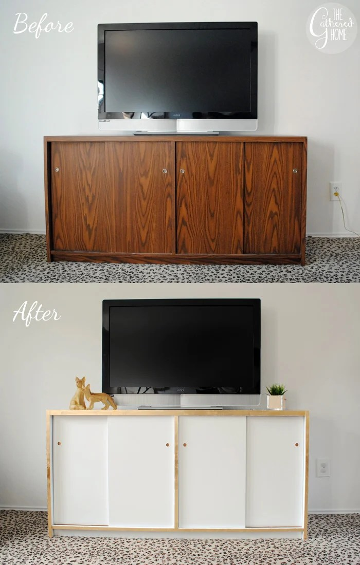 White And Gold Leaf Credenza Makeover The Gathered Home
