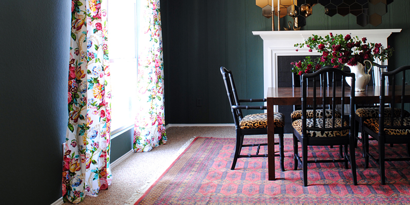 Dining Room Updates Floral Curtains Amp Bokhara Rug