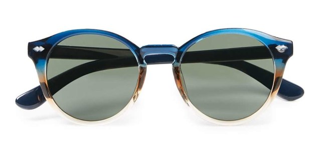 Blue Dip Dyed Round Sunglasses
