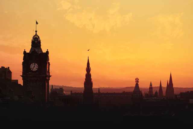 city dawn sky sunset