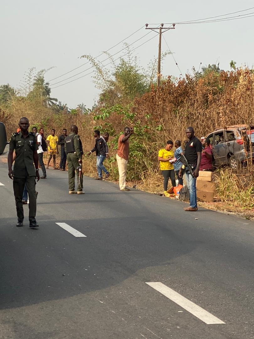 Senate President's Convoy Rescues 5 Accident Victims In Delta State + Photos