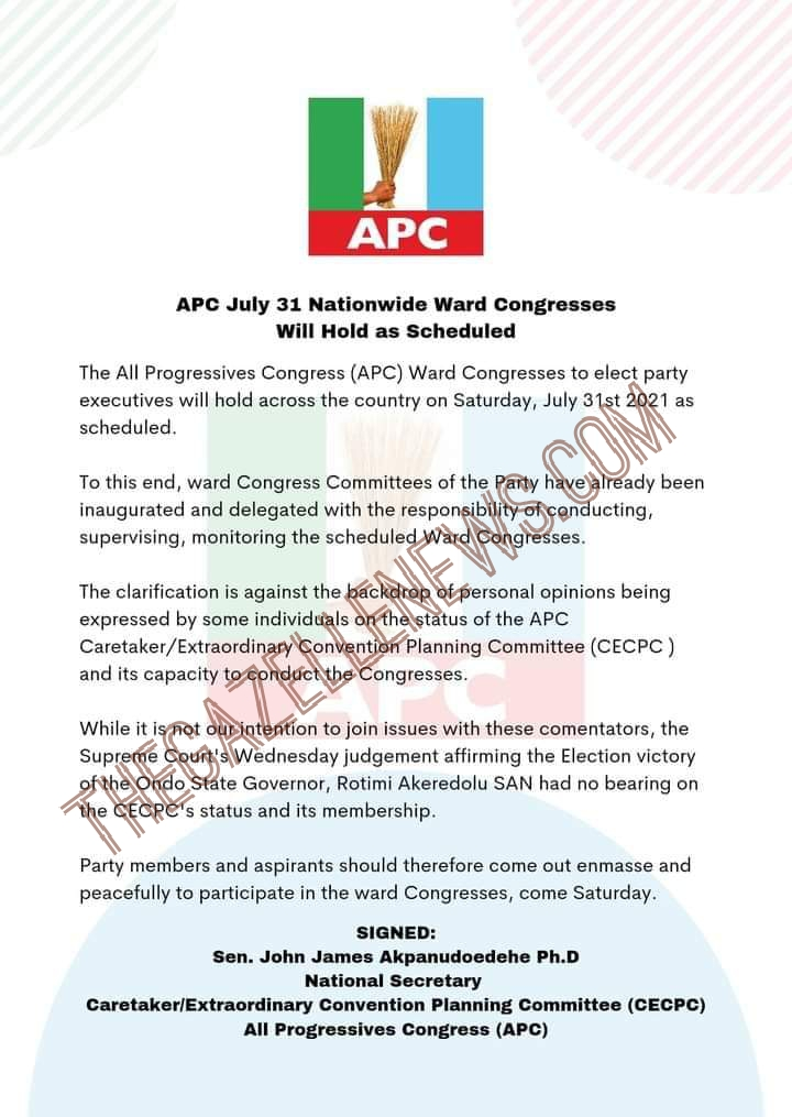 Breaking: Ward Congress Will Hold, APC Insists; Says Ondo Supreme Court Ruling Not Related To Status Of CECPC