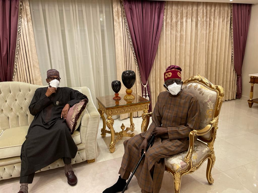 In Pictures, Asiwaju Bola Ahmed Tinubu Meets Buhari In London