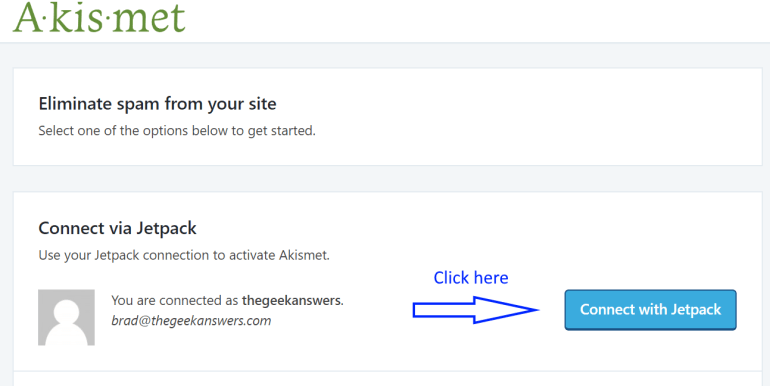 wordpress akismet setup step 3