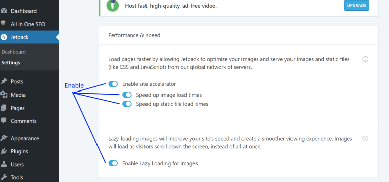 wordpress image optimizations settings screen, site accelerator, lazy load images