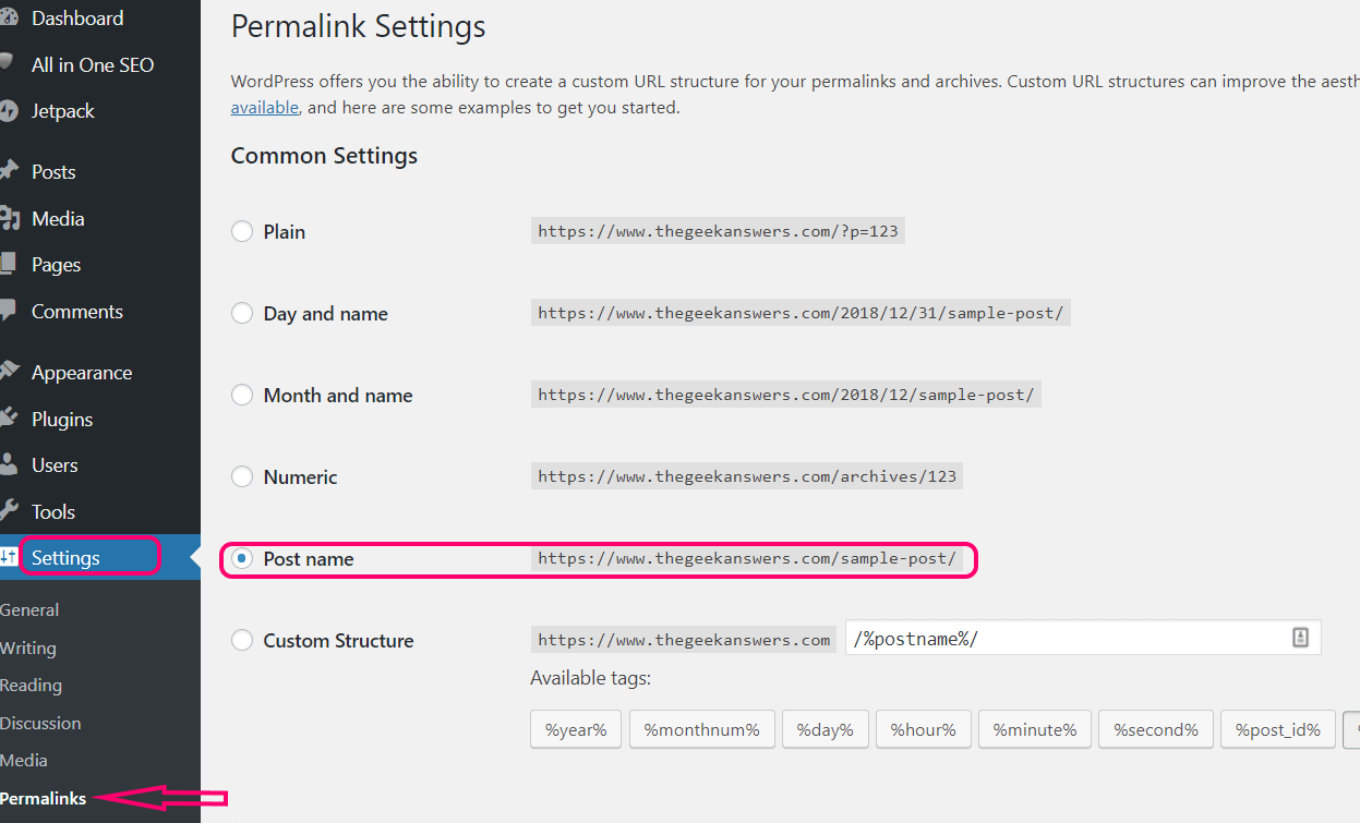 wordpress set permalinks post name without date