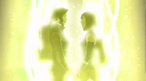 Asami and Korra in the last scene of the series finale