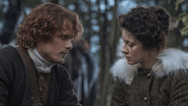 Screenshot of Jaime and Claire from Starz's Outlander.
