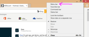 If you don't see the text menu in IE, right click in the header and select it.