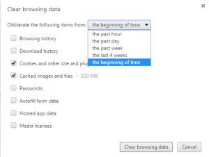 Chrome Clear Browsing Data window