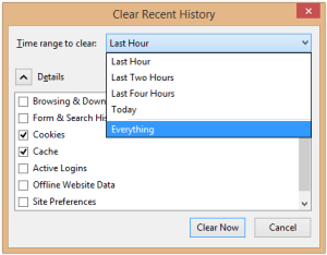 Firefox Clear Recent History popup