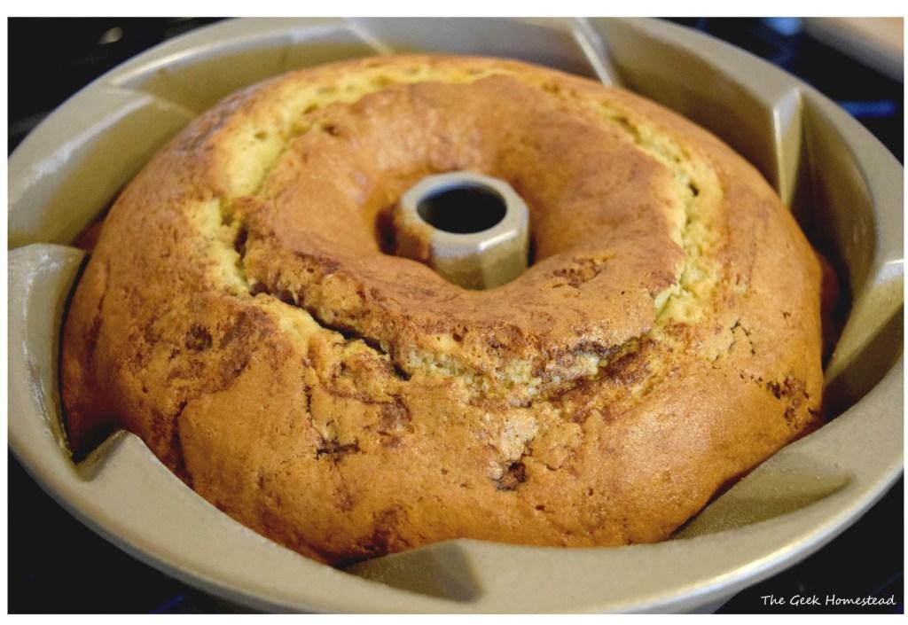 baked bundt cake in pan