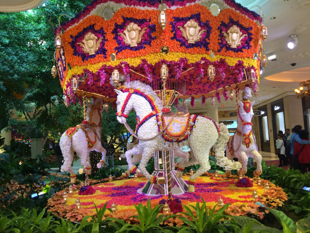 A carousel made of flowers at the Wynn