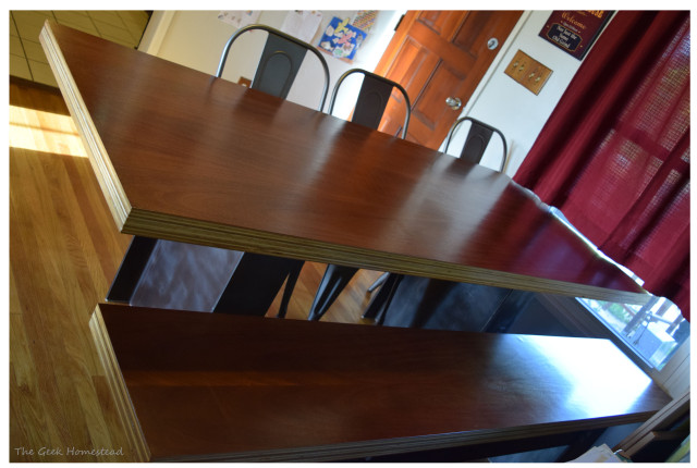 Mahogany Plywood Dining Table with I-beam legs