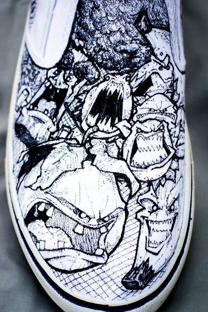 Zombie Fruits & Vegetables designer right shoe by Nick Forte