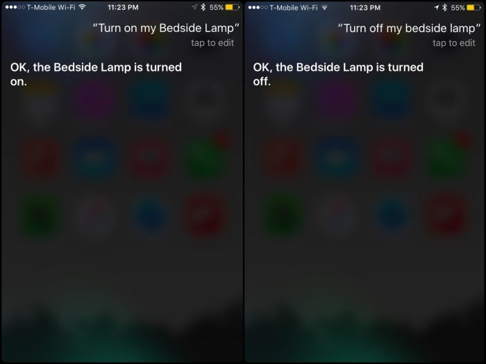 (Using Siri to toggle a lamp connected to the iDevices Switch)