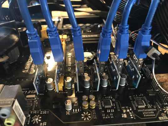 Tour of my Mining Rig 0005 - PCIe Risers