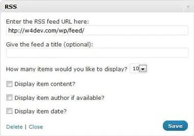 Wordpress RSS Widget