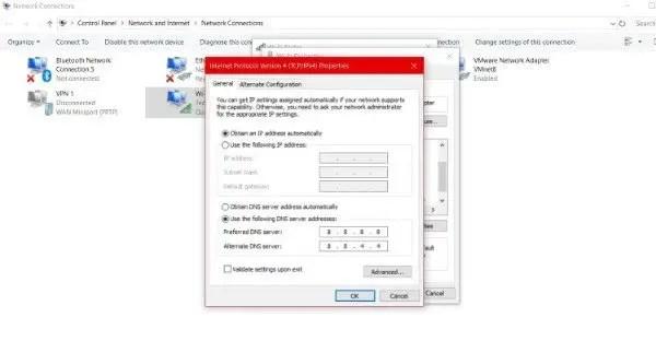 Change default DNS