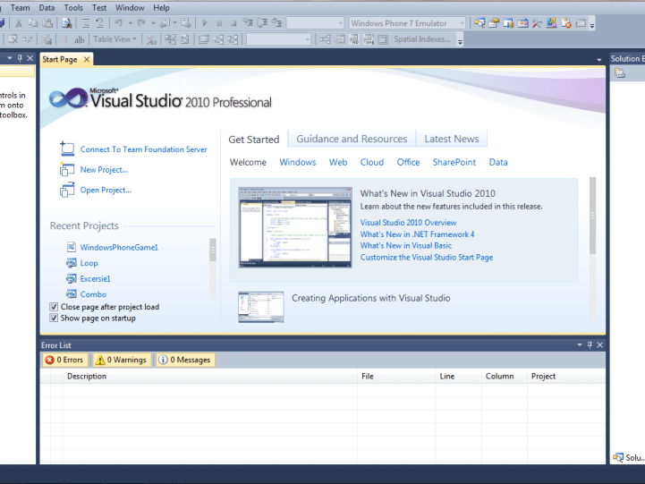 Start Page of VS 2010