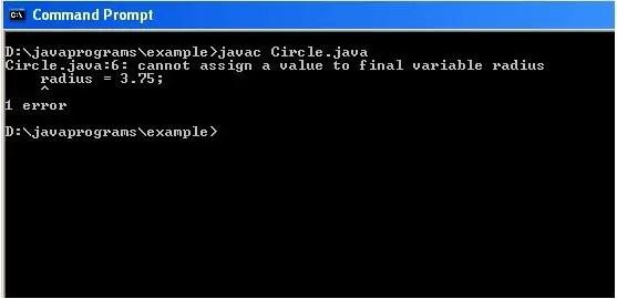 Program for Final Variable