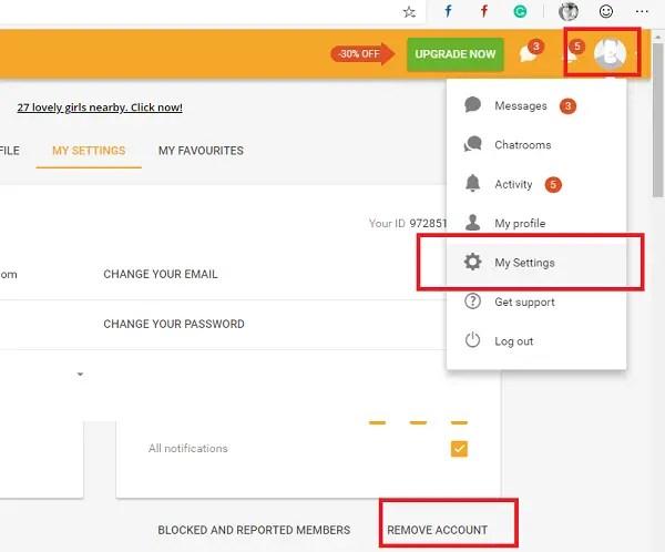 Delete Remove BeNaughty Account