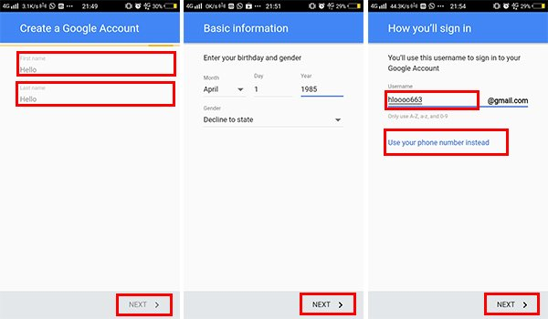 Create new Google account in Android