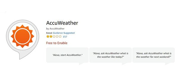 Accuweather Alexa skill