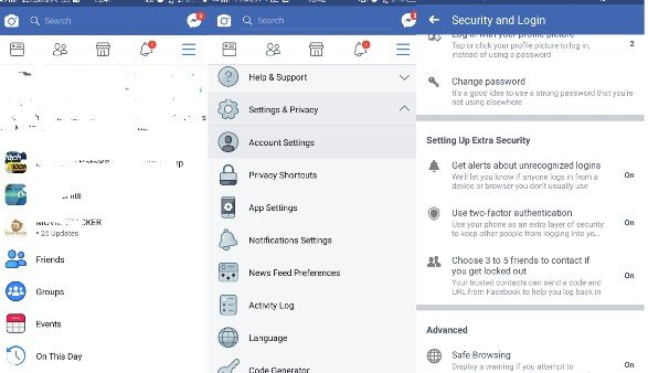 change Facebook privacy settings on Android