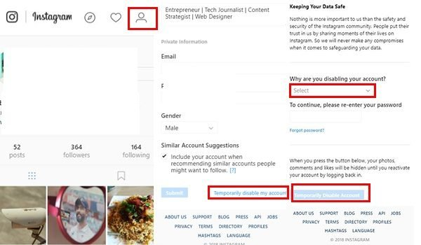 Temporary Disable Instagram Account