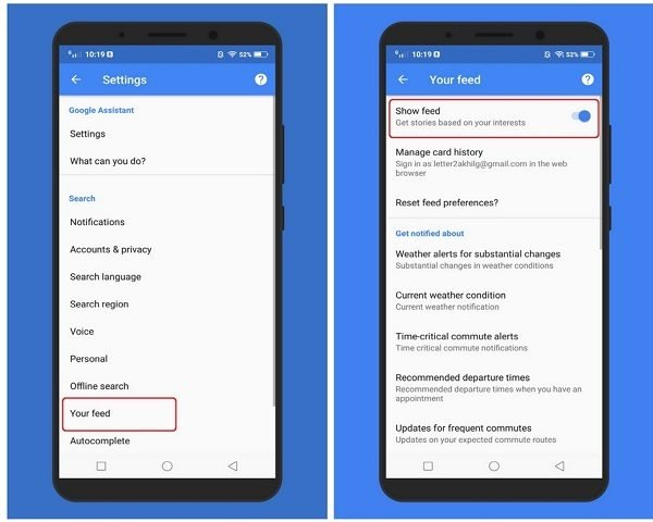 disable trending story cards Google feed