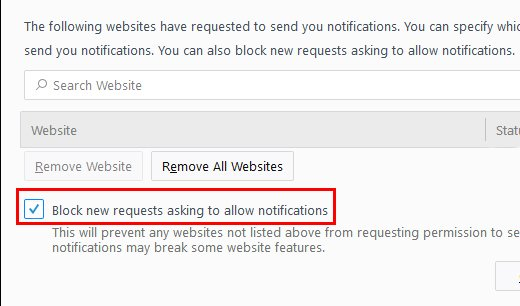 Firefox: stop websites from asking to show notifications
