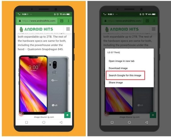 reverse search images on Android from websites