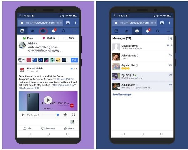 Send a Facebook Message without Messenger app using Web version