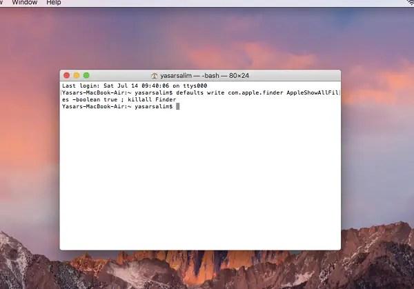 Show hidden files on MacOS