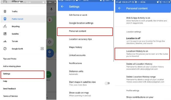 Turn off location history in Google Maps