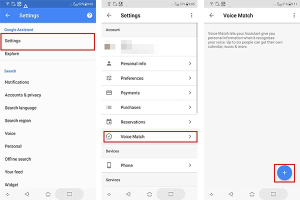 Voice Match settings in Google Assistant