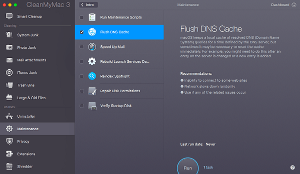 Cleanmymac uility for DNS Cache