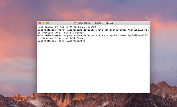 How to hide files in MacOSX