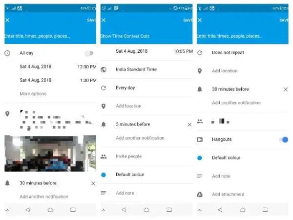 Add location and invite people in Google Calendar