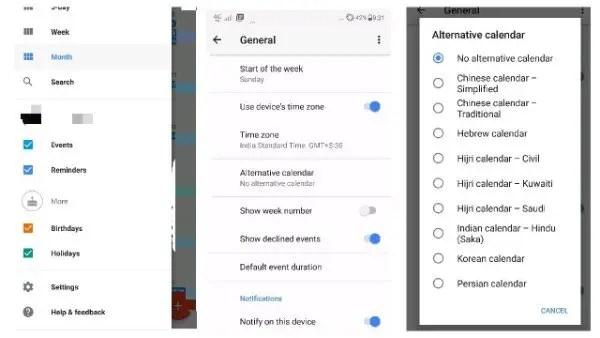 Alternative Calendar in Google Calendar