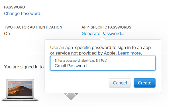 Create App Specific Password