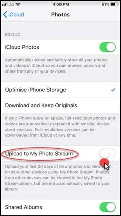 Turn on Upload to My Photo Stream