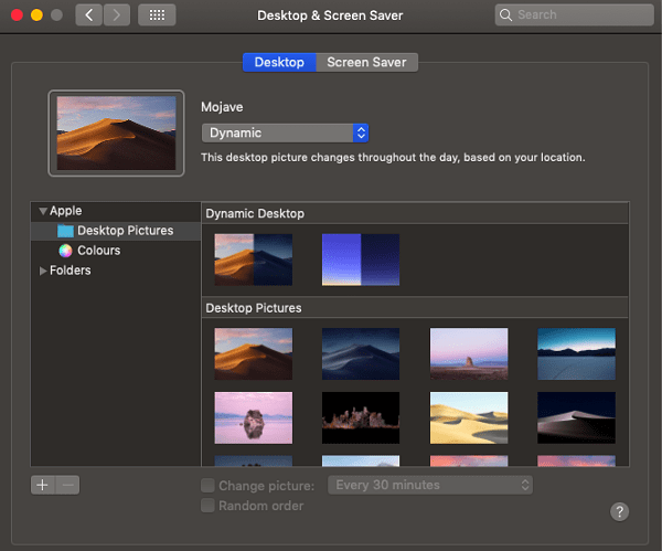 enable Dynamic Desktop in macOS Mojave