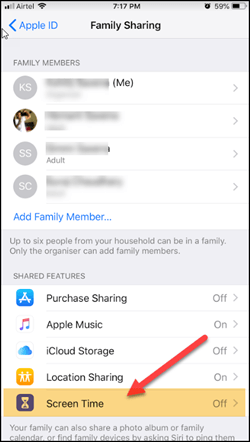 Enable Screen time in Family Sharing